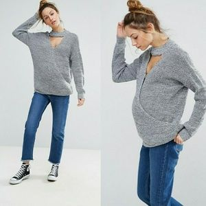 ASOS Maternity Choker Detail Nursing Sweater Sz 2